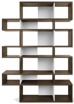 Temahome London Walnut and White Triple Bookcase