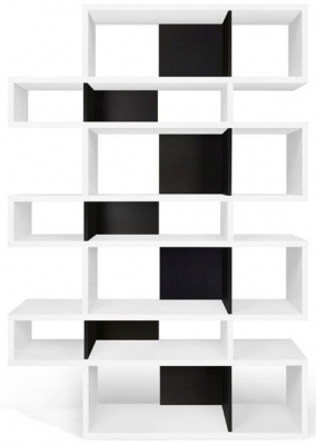 Temahome London White and Black Triple Bookcase