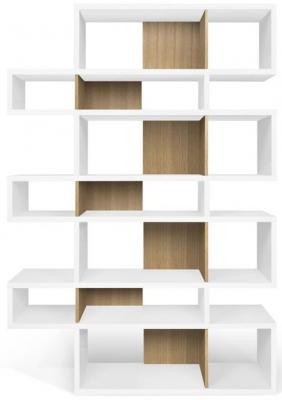 Temahome London White and Oak Triple Bookcase