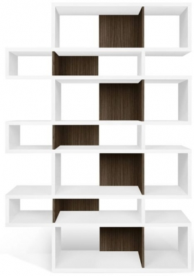 Temahome London White and Walnut Triple Bookcase