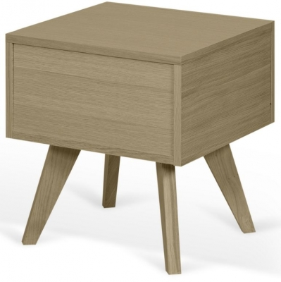 Temahome Mara Oak Bedside Cabinet with Wooden Legs
