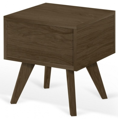 Temahome Mara Walnut Bedside Cabinet with Wooden Legs