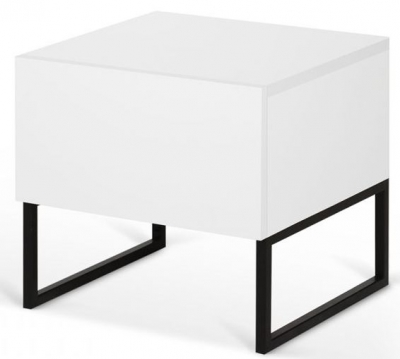 Temahome Mara White Bedside Cabinet with Metal Legs