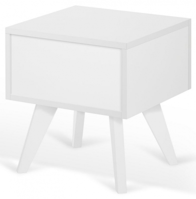 Temahome Mara White Bedside Cabinet with Wooden Legs