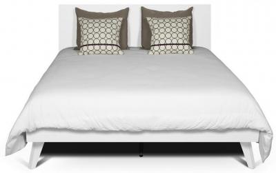 Temahome Mara White Rectangular Headboard Bed with Wooden Legs