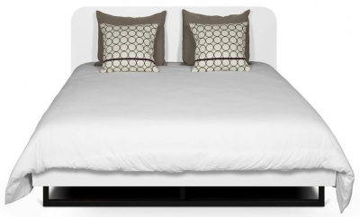 Temahome Mara White Rounded Headboard Bed with Metal Legs
