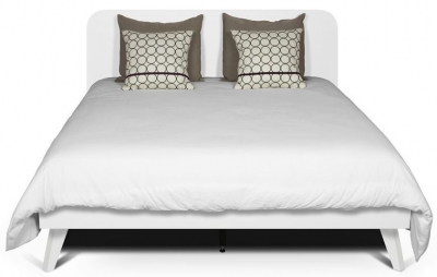 Temahome Mara White Rounded Headboard Bed with Wooden Legs