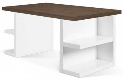 Temahome Multi Storage 160 Walnut and White Writing Desk