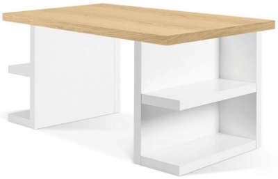 Temahome Multi Storage 180 Oak and White Writing Desk