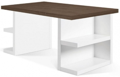 Temahome Multi Storage 180 Walnut and White Writing Desk
