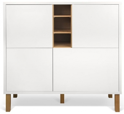 Temahome Niche White and Oak Cupboard with Wooden Legs