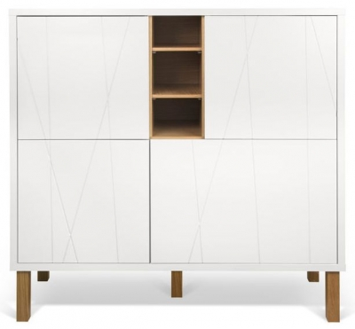 Temahome Niche White and Oak Pattern Cupboard with Wooden Legs
