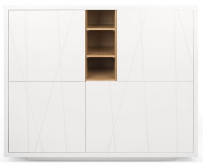 Temahome Niche White and Oak Pattern Cupboard