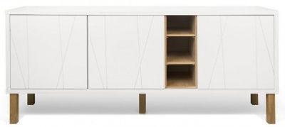Temahome Niche White and Oak Pattern Sideboard with Wooden Legs