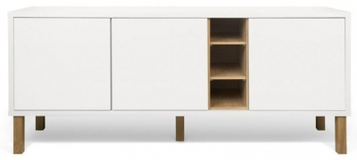 Temahome Niche White and Oak Sideboard with Wooden Legs