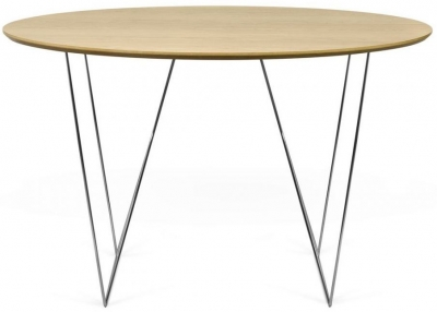 Temahome Row 120cm Oak and Chrome Round Dining Table