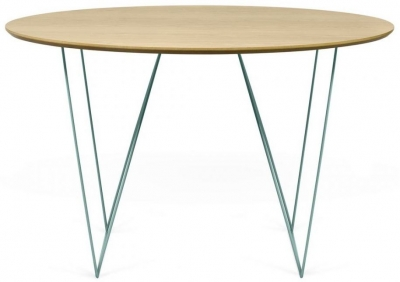 Temahome Row 120cm Oak and Green Round Dining Table