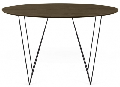 Temahome Row 120cm Walnut and Black Round Dining Table