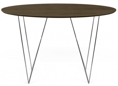 Temahome Row 120cm Walnut and Chrome Round Dining Table