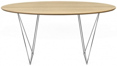 Temahome Row 150cm Oak and Chrome Round Dining Table