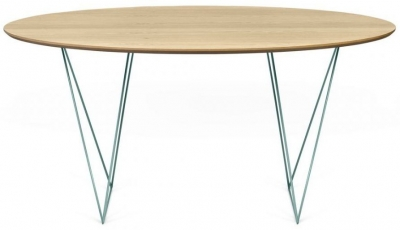 Temahome Row 150cm Oak and Green Round Dining Table