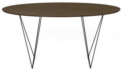 Temahome Row 150cm Walnut and Black Round Dining Table