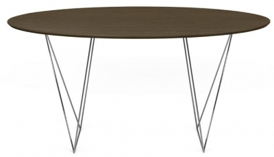 Temahome Row 150cm Walnut and Chrome Round Dining Table