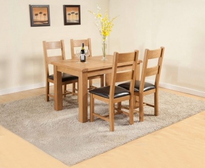 Dorset Oak Extending Dining Table and 4 Chairs