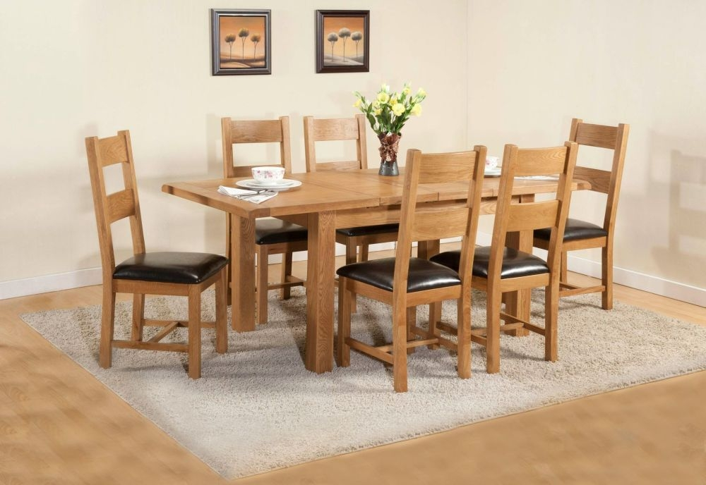 Dorset Oak Large Extending Dining Table and 6 Chairs