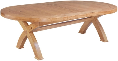 Fairford Oak Oval Cross Leg Extending Dining Table