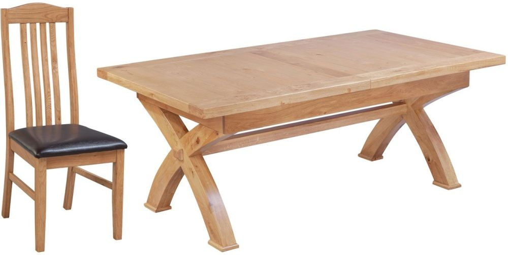 Fairford Oak Cross Leg Extending Dining Table and Graham Chairs
