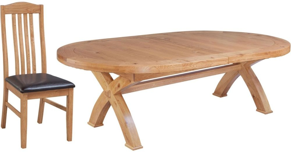 Fairford Oak Oval Cross Leg Extending Dining Table and Graham Chairs