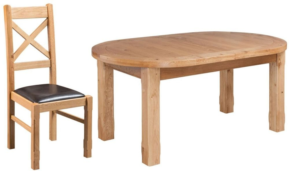 Fairford Oak Oval Extending Dining Table and Cross Back Chairs