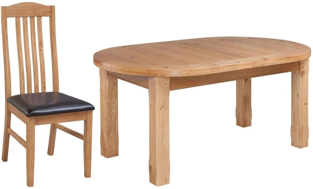 Fairford Oak Oval Extending Dining Table and Graham Chairs