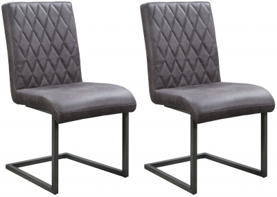 Pergo Industrial Grey Leather Dining Chair (Pair)