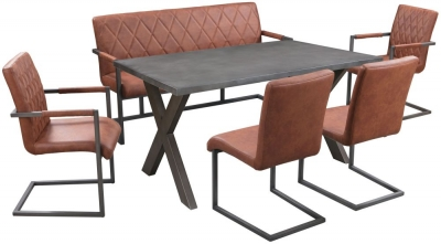 Pergo Industrial X Base Medium Dining Table with 2 Chairs and Armchairs and Bench - Concrete and Tan