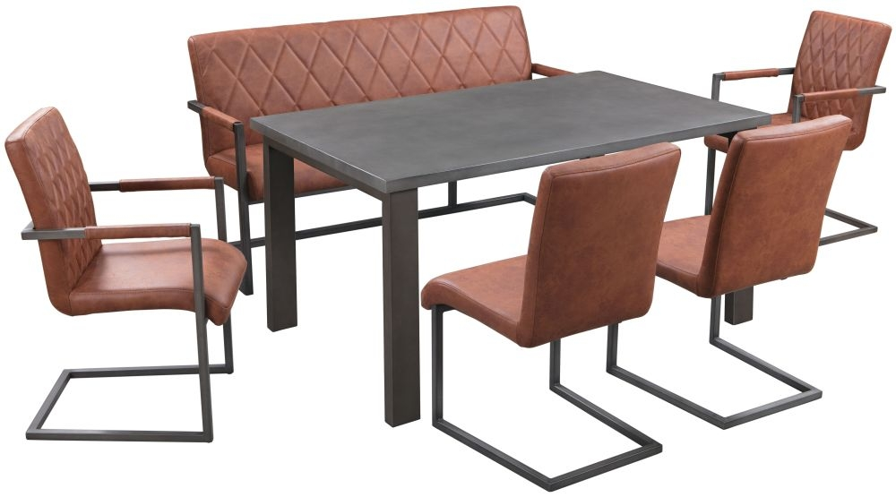 Pergo Industrial U Base Standard Dining Table with 2 Chairs and Armchairs and Bench - Concrete and Tan