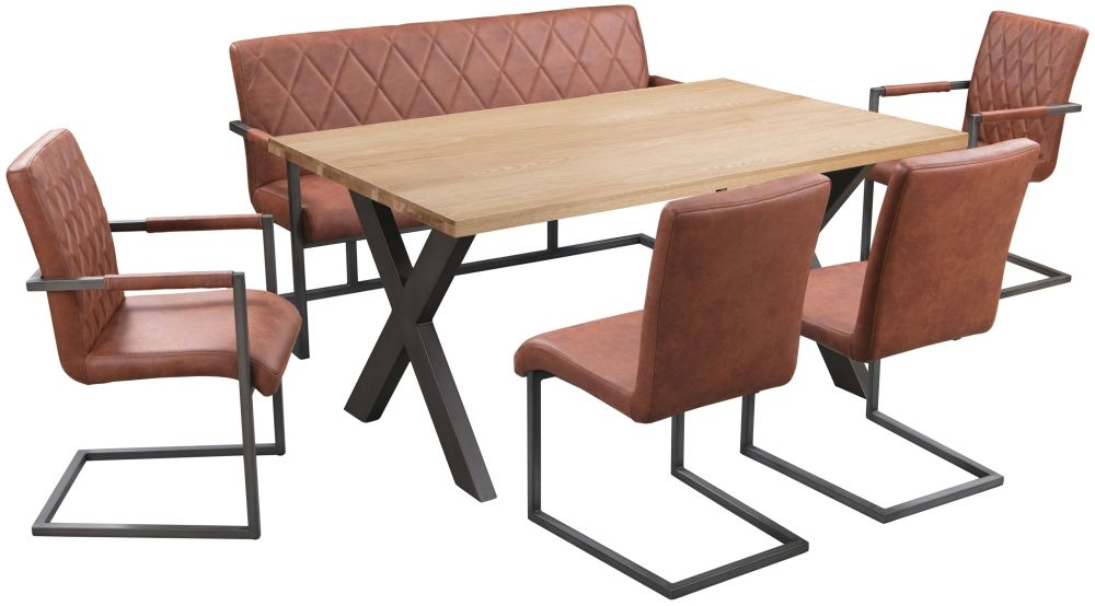Pergo Industrial X Base Medium Dining Table with 2 Chairs and Armchairs and Bench - Weathered Oak and Tan