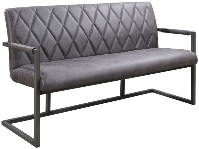 Pergo Industrial Grey Leather Dining Bench