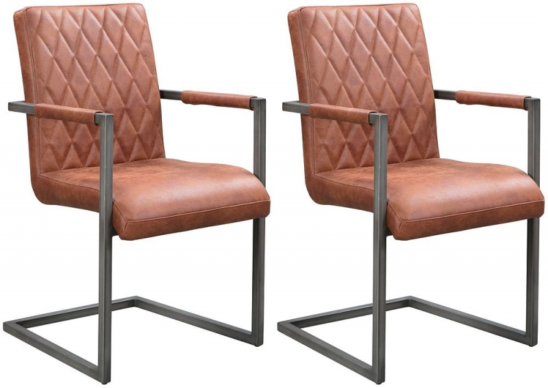 Pergo Industrial Tan Leather Dining Armchair (Pair)
