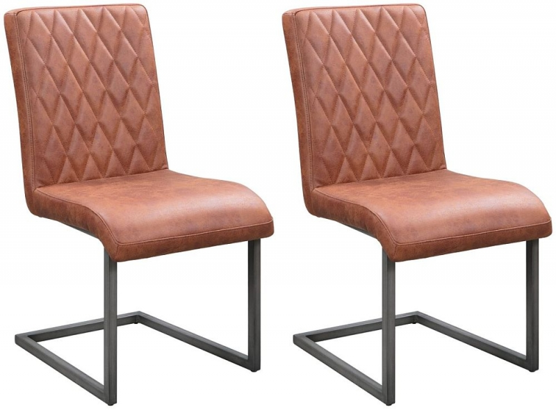 Pergo Industrial Tan Leather Dining Chair (Pair)