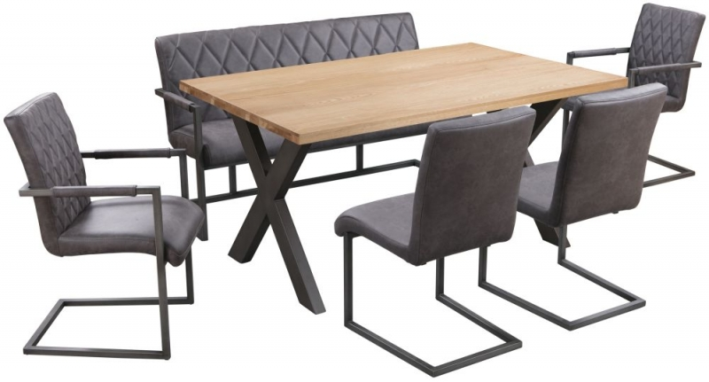Pergo Industrial X Base Medium Dining Table with 2 Chairs and Armchairs and Bench - Weathered Oak and Grey