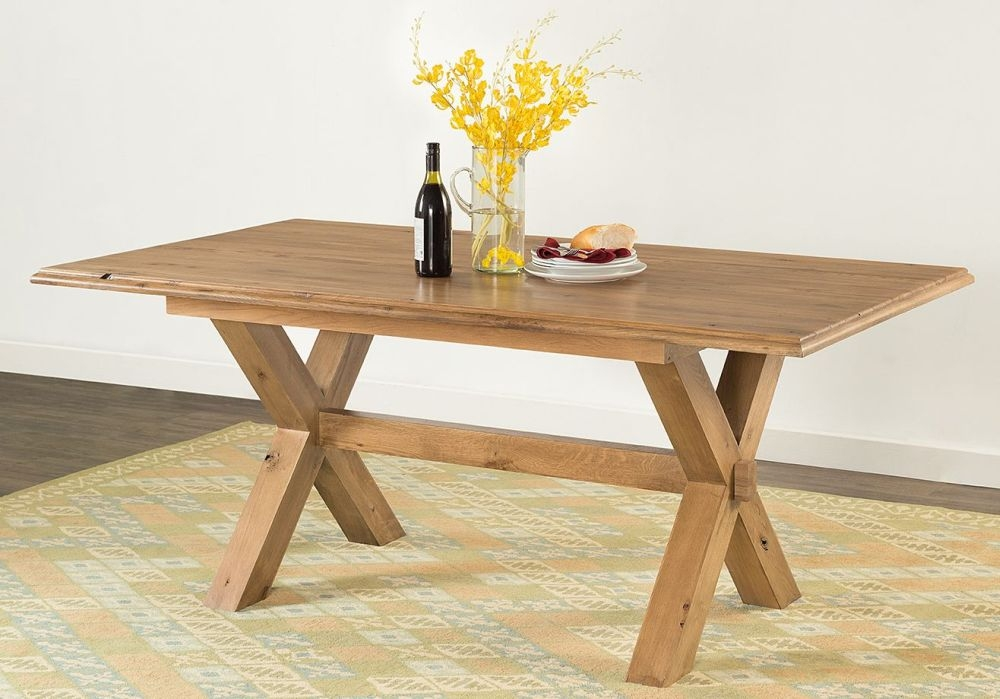 Rustica Oak Cross Leg Dining Table