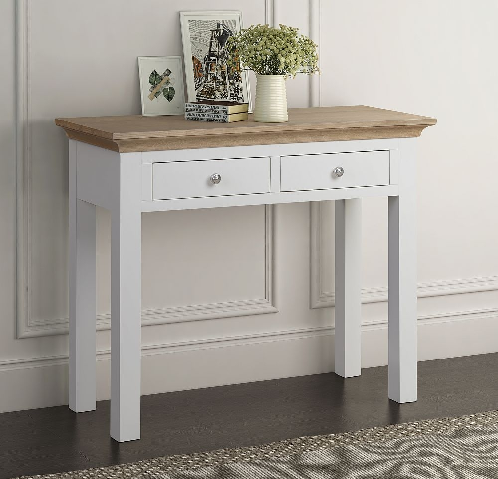 Sandringham Large Console Table - Oak and White Painted