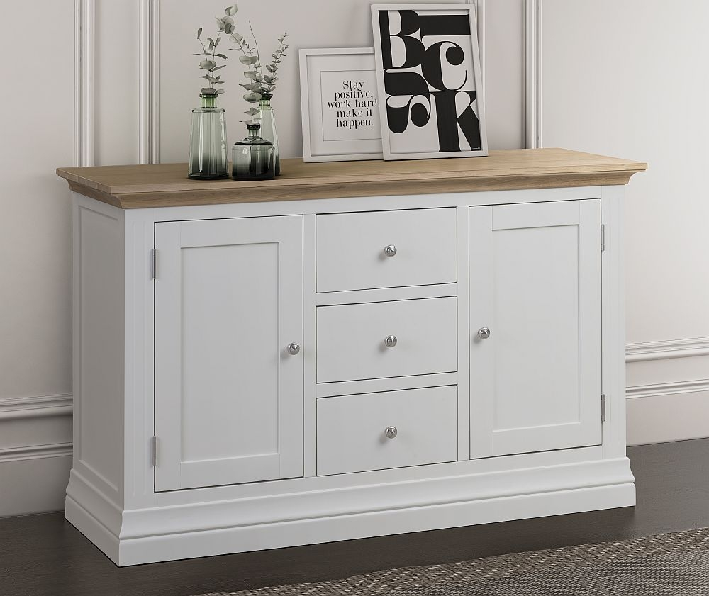 Sandringham Large Sideboard - Oak and White Painted