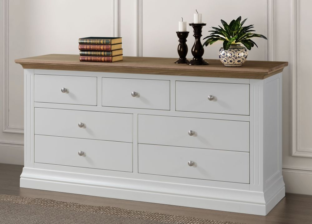 Sandringham 3+4 Drawer Chest - Oak and White Painted
