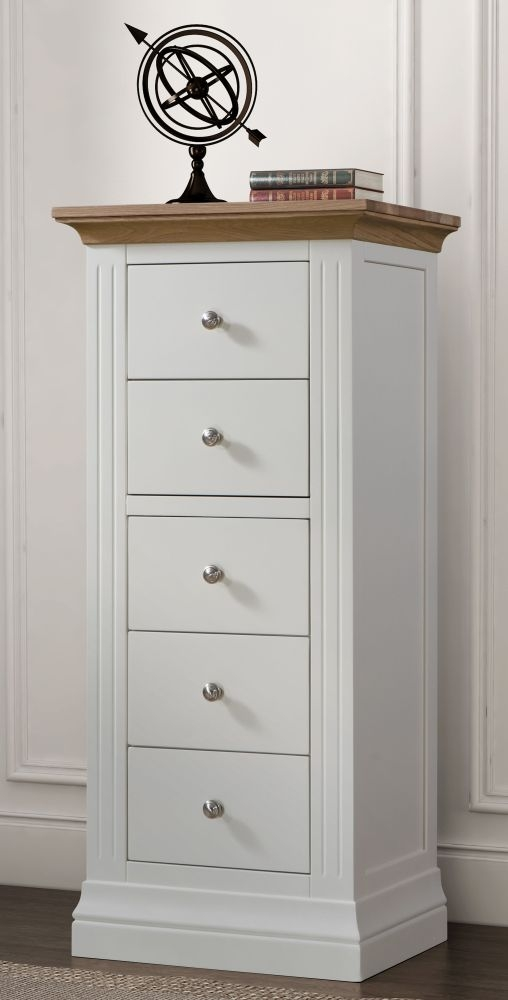 Sandringham 5 Drawer Wellington Chest - Oak and White Painted