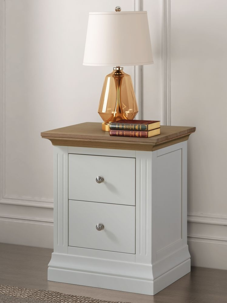 Sandringham Bedside Cabinet - Oak and White Painted
