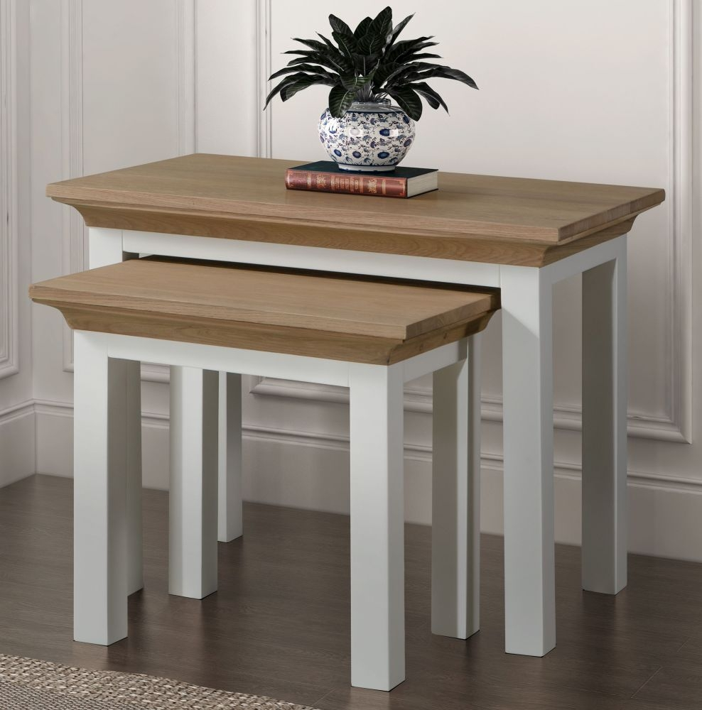 Remarkable Sandringham Nest Of Tables Oak And White Painted Beutiful Home Inspiration Xortanetmahrainfo