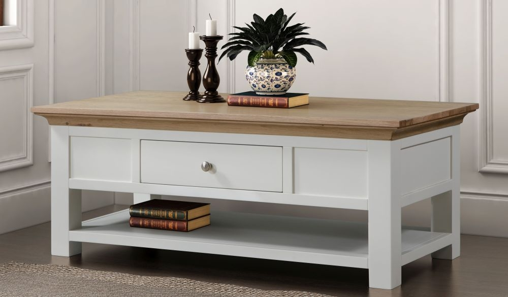 Sandringham Storage Coffee Table - Oak and White Painted